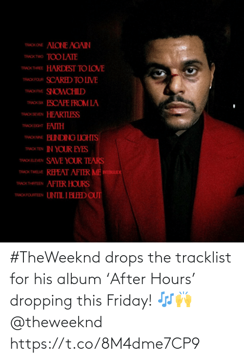 Tracklist: #TheWeeknd drops the tracklist for his album 'After Hours' dropping this Friday! 🎶🙌 @theweeknd https://t.co/8M4dme7CP9