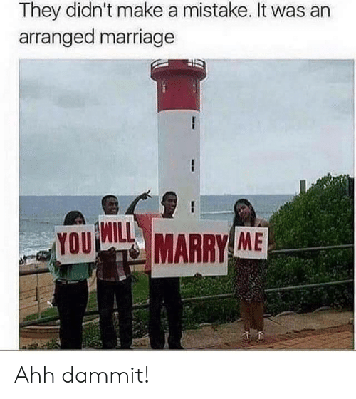 Marriage, Arranged Marriage, and Make A: They didn't make a mistake. It was an  arranged marriage  YOU  MARRY ME Ahh dammit!