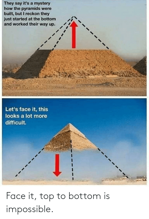 Built: They say it's a mystery  how the pyramids were  built, but I reckon they  just started at the bottom  and worked their way up.  Let's face it, this  looks a lot more  difficult. Face it, top to bottom is impossible.
