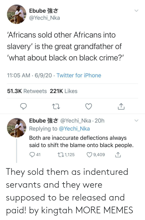 Supposed To: They sold them as indentured servants and they were supposed to be released and paid! by kingtah MORE MEMES