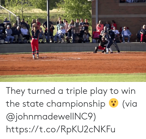 Championship: They turned a triple play to win the state championship 😮 (via @johnmadewellNC9) https://t.co/RpKU2cNKFu