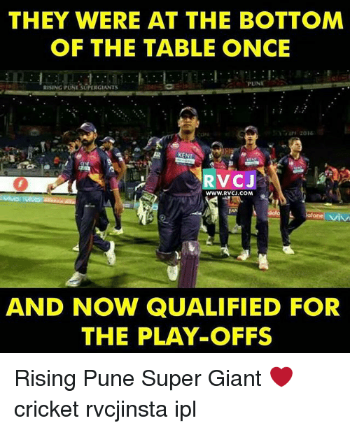 Memes, Cricket, and Giant: THEY WERE AT THE BOTTOM  OF THE TABLE ONCE  PUNE  RISING PUNISUPERGIANTS  KENT  RVC J  WWW. RVCU.COM  AND NOW QUALIFIED FOR  THE PLAY-OFFS Rising Pune Super Giant ❤️ cricket rvcjinsta ipl