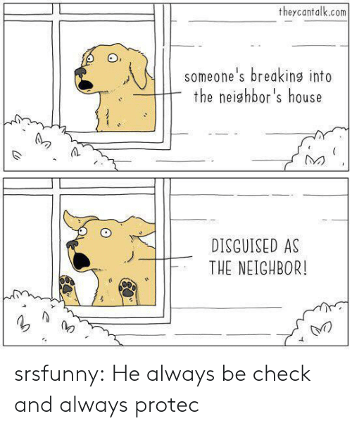 disguised: theycantalk.com  someone's breaking into  the neighbor's house  DISGUISED AS  THE NEIGHBOR! srsfunny:  He always be check and always protec