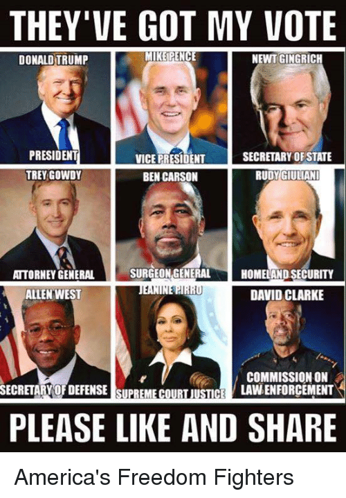 America, Ben Carson, and Donald Trump: THEY'VE GOT MY VOTE  MIKE PENCE  NEWT GINGRICH  DONALD TRUMP  PRESIDENT  SECRETARY OF STATE  VICE PRESIDENT  TREY GOWDY  BEN CARSON  RUDY GIULIANI  SURGEON GENERAL  ATTORNEY GENERAL  HOMELAND SECURITY  1,1  DAVID CLARKE  ALLEN WEST  COMMISSION ON  LAVNENFORCEMENT  SECRETARY OFDEFENSE SUPREME COURT JUSTICE  PLEASE LIKE AND SHARE America's Freedom Fighters