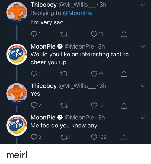 To Cheer You Up: Thiccboy @Mr_Willis.3h  Replying to @MoonPie  I'm very sad  13  MoonPie @MoonPie 3h  on  Pould you like an interesting fact to  cheer you up  O51  Thiccboy @Mr_Willis.3h  Yes  O13  MoonPie @MoonPie 3h  oon  ylopie Me too do you know any  O129 meirl