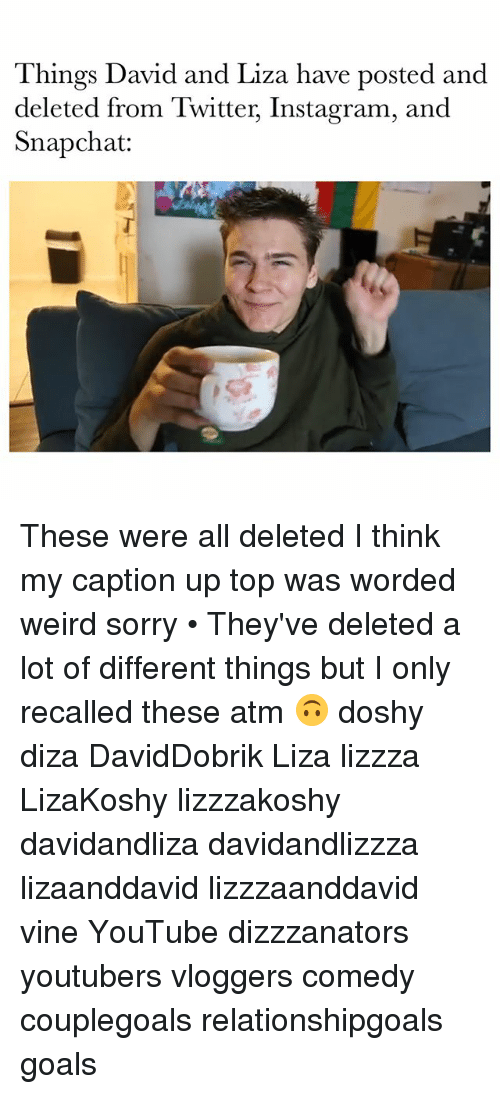 Goals, Instagram, and Memes: Things David and Liza have posted and  deleted from Twitter, Instagram, and  S:  napchat These were all deleted I think my caption up top was worded weird sorry • They've deleted a lot of different things but I only recalled these atm 🙃 doshy diza DavidDobrik Liza lizzza LizaKoshy lizzzakoshy davidandliza davidandlizzza lizaanddavid lizzzaanddavid vine YouTube dizzzanators youtubers vloggers comedy couplegoals relationshipgoals goals