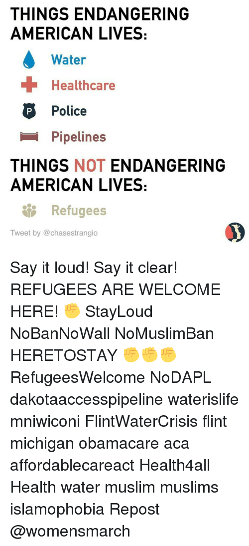 Pipeliner: THINGS ENDANGERING  AMERICAN LIVES:  Water  Healthcare  P Police  Pipelines  THINGS  NOT  ENDANGERING  AMERICAN LIVES:  Refugees  Tweet by @chasestrangio Say it loud! Say it clear! REFUGEES ARE WELCOME HERE! ✊ StayLoud NoBanNoWall NoMuslimBan HERETOSTAY ✊✊✊ RefugeesWelcome NoDAPL dakotaaccesspipeline waterislife mniwiconi FlintWaterCrisis flint michigan obamacare aca affordablecareact Health4all Health water muslim muslims islamophobia Repost @womensmarch