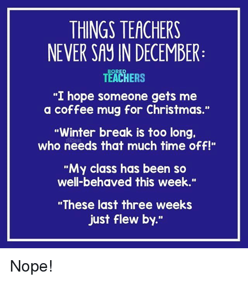 """Coffee Mug: THINGS TEACHERS  NEVER SAY IN DECEMBER  TEACHERS  """"I hope someone gets me  a coffee mug for Christmas.""""  Winter break is too long.  who needs that much time off!""""  """"My class has been so  well-behaved this week.""""  """"These last three weeks  just flew by."""" Nope!"""