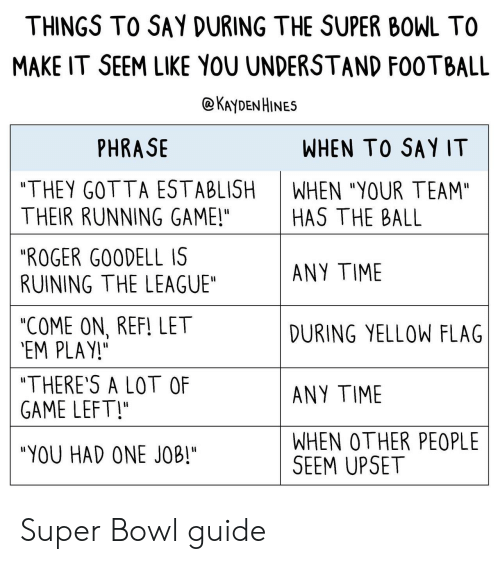 """you had one job: THINGS TO SAY DURING THE SUPER BOWL TO  MAKE IT SEEM LIKE YOU UNDERSTAND F00TBALL  @KAyDENHINES  PHRASE  WHEN TO SAY IT  """"THEY GOTTA ESTABLISH  THEIR RUNNING GAME!""""  """"ROGER G00DELL IS  RUINING THE LEAGUE""""  """"COME ON, REF! LET  EM PLAY!  """"THERE'S A LOT OF  GAME LEFT!  """"YOU HAD ONE JOB""""  WHEN """"YOUR TEAM""""  HAS THE BALL  ANY TIME  DURING YELLOW FLAG  ANY TIME  WHEN OTHER PEOPLE  SEEM UPSET Super Bowl guide"""