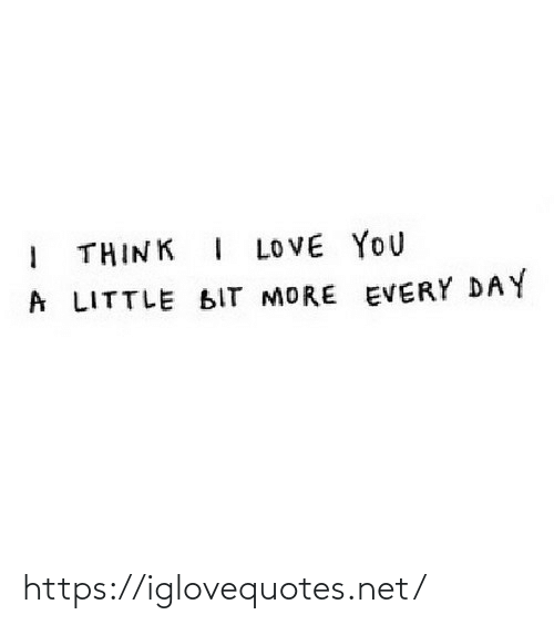 Love, I Love You, and Net: THINK I LOVE YOU  A LITTLE BIT MORE EVERY DAY https://iglovequotes.net/