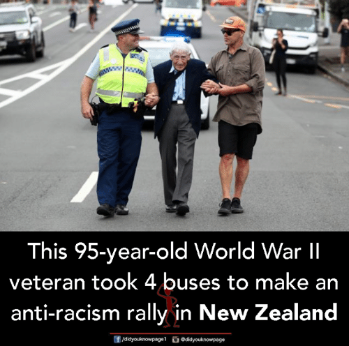 rally: This 95-year-old World War lI  veteran took 4 buses to make an  anti-racism rally in New Zealand  f/didyouknowpagel  Ο@didyouknowpage
