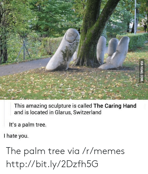 Switzerland: This amazing sculpture is called The Caring Hand  and is located in Glarus, Switzerland  It's a palm tree.  I hate you. The palm tree via /r/memes http://bit.ly/2Dzfh5G