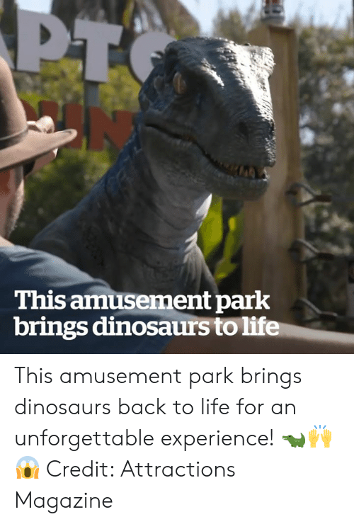 Life, Dinosaurs, and Experience: This amusement park  brings dinosaurs to life This amusement park brings dinosaurs back to life for an unforgettable experience! 🐊🙌😱  Credit: Attractions Magazine