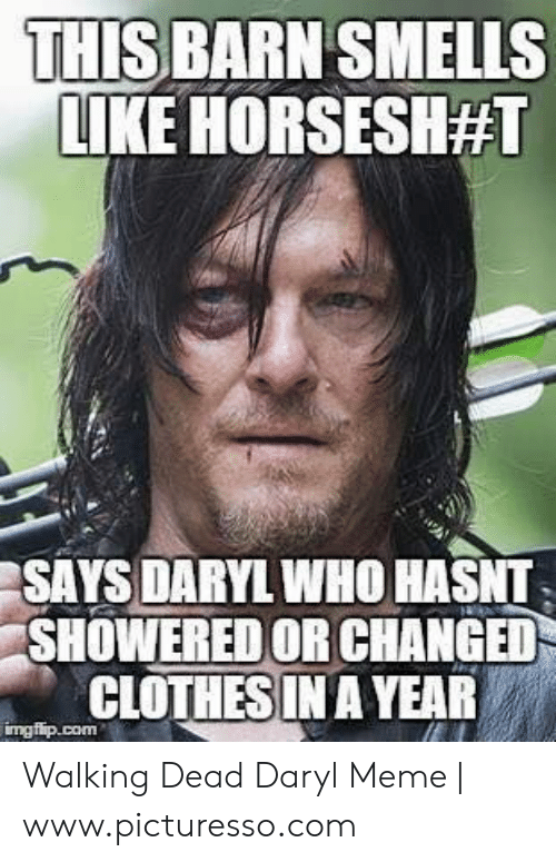 Clothes, Meme, and Walking Dead: THIS BARN SMELLS  LIKE HORSESH#1  SAYS DARYL WHO HASNT  SHOWERED OR CHANGED  CLOTHES IN A YEAR Walking Dead Daryl Meme | www.picturesso.com