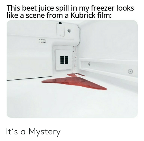 freezer: This beet juice spill in my freezer looks  like a scene from a Kubrick film: It's a Mystery