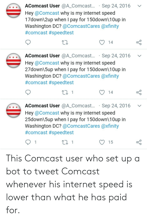 His: This Comcast user who set up a bot to tweet Comcast whenever his internet speed is lower than what he has paid for.