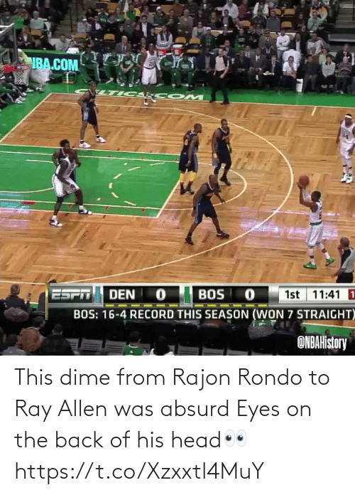 eyes: This dime from Rajon Rondo to Ray Allen was absurd  Eyes on the back of his head👀 https://t.co/Xzxxtl4MuY