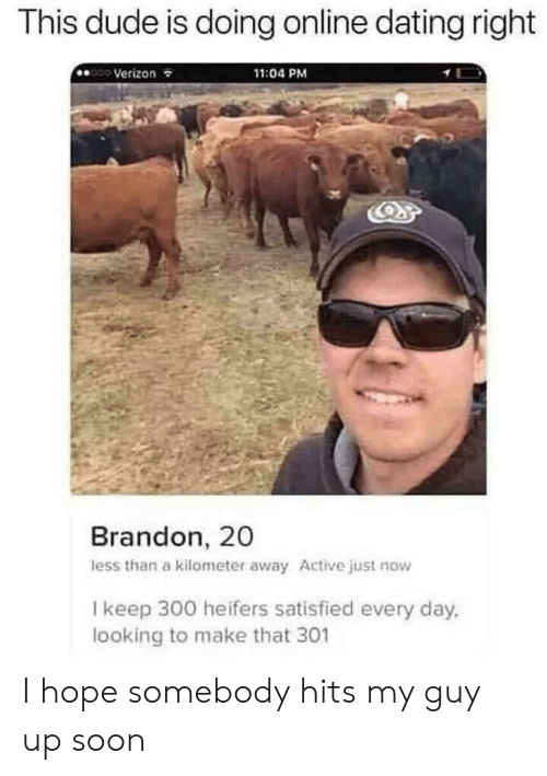 Verizon: This dude is doing online dating right  Verizon  11:04 PM  Brandon, 20  less than a kilometer away Active just now  I keep 300 heifers satisfied every day,  looking to make that 301 I hope somebody hits my guy up soon