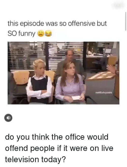 Funny, Memes, and The Office: this episode was so offensive but  SO funny  netflixtvposts do you think the office would offend people if it were on live television today?