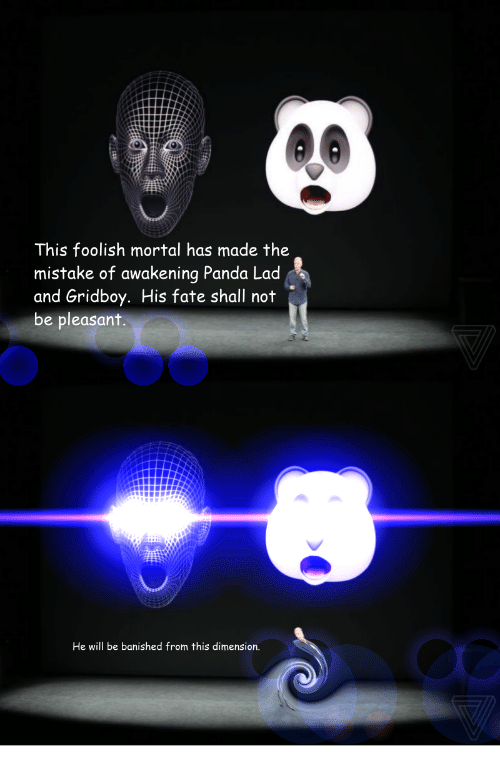 Banished: This foolish mortal has made the  mistake of awakening Panda Lad  and Gridboy. His fate shall not  be pleasant.  He will be banished from this dimension.