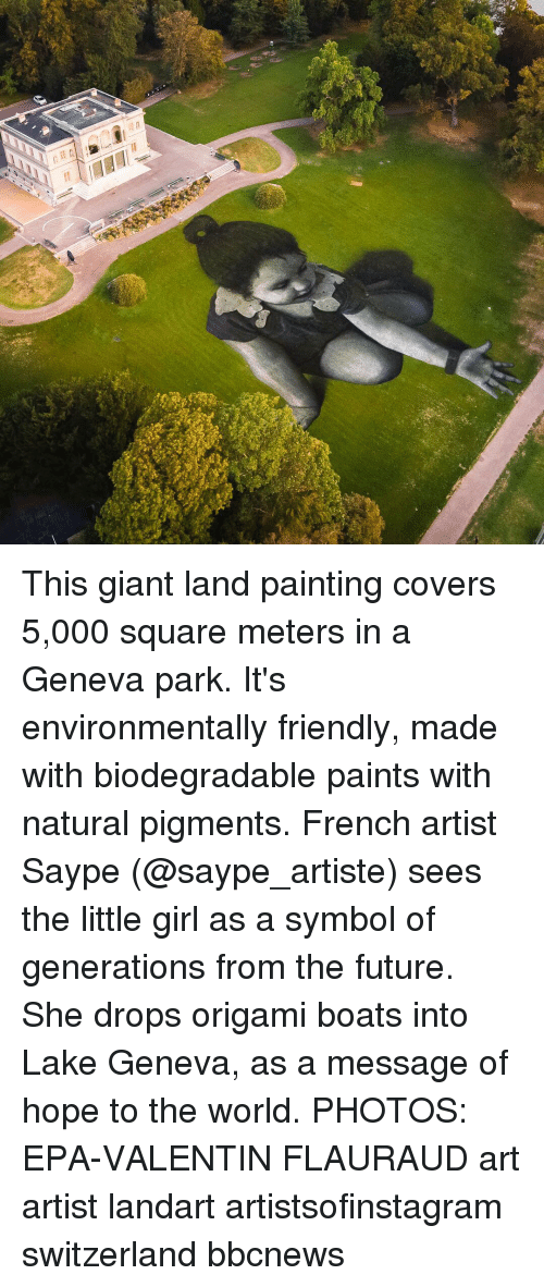 Valentin: This giant land painting covers 5,000 square meters in a Geneva park. It's environmentally friendly, made with biodegradable paints with natural pigments. French artist Saype (@saype_artiste) sees the little girl as a symbol of generations from the future. She drops origami boats into Lake Geneva, as a message of hope to the world. PHOTOS: EPA-VALENTIN FLAURAUD art artist landart artistsofinstagram switzerland bbcnews