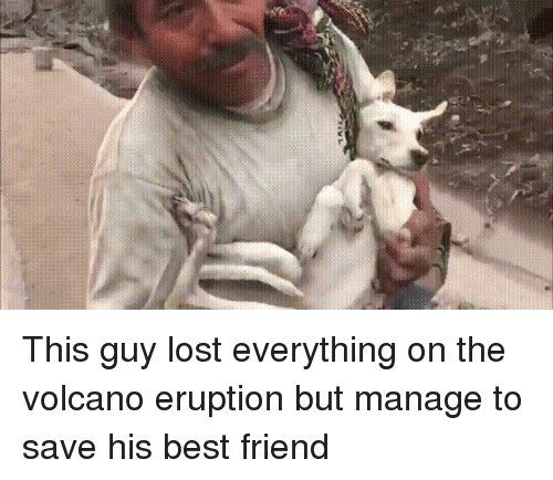Best Friend, Funny, and Lost: This guy lost everything on the volcano eruption but manage to save his best friend