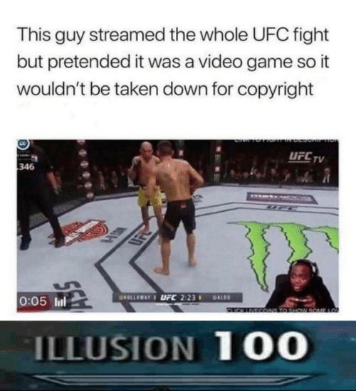 copyright: This guy streamed the whole UFC fight  but pretended it was a video game so it  wouldn't be taken down for copyright  UFC TV  346  www  HD  0:05 lul  GOLLOWAY&LFC 2:23  DALDO  2IN COND T0 SHW  LO  ILLUSION 100