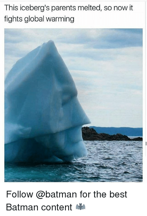 Best Batman: This iceberg's parents melted, so now it  fights global warming Follow @batman for the best Batman content 🦇