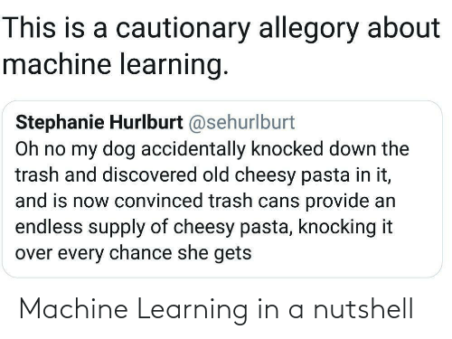 endless: This is a cautionary allegory about  machine learning.  Stephanie Hurlburt @sehurlburt  Oh no my dog accidentally knocked down the  trash and discovered old cheesy pasta in it,  and is now convinced trash cans provide an  endless supply of cheesy pasta, knocking it  over every chance she gets Machine Learning in a nutshell