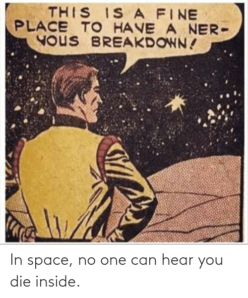 No One: THIS IS A FINE  PLACE TO HAVE A NER-  YOUS BREAKDOWN! In space, no one can hear you die inside.