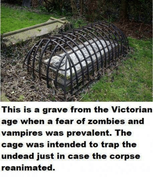 prevalent: This is a grave from the Victorian  age when a fear of zombies and  vampires was prevalent. The  cage was intended to trap the  undead just in case the corpse  reanimated.