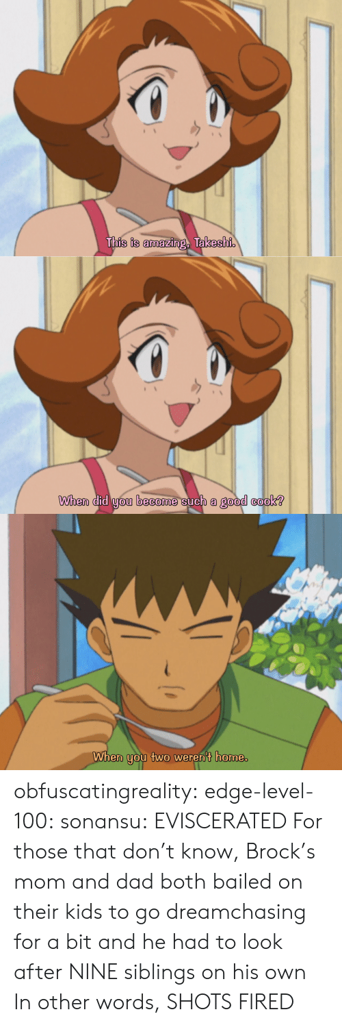 shots fired: This is amazing, Takeshi   When did you become such a good cook?   When you two weren't home. obfuscatingreality: edge-level-100:  sonansu: EVISCERATED   For those that don't know, Brock's mom and dad both bailed on their kids to go dreamchasing for a bit and he had to look after NINE siblings on his own In other words, SHOTS FIRED