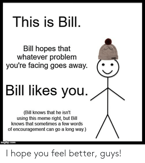Imgflip Com: This is Bill.  Bill hopes that  whatever problem  you're facing goes away.  Bill likes you.  (Bill knows that he isn't  using this meme right, but Bill  knows that sometimes a few words  of encouragement can go a long way.)  imgflip.com I hope you feel better, guys!