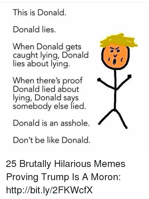 Be Like, Memes, and Http: This is Donald.  Donald lies.  When Donald gets  caught lying, Donald  lies about lying  When there's proof  Donald lied about  lying, Donald says  somebody else lied.  Donald is an asshole  Don't be like Donald. 25 Brutally Hilarious Memes Proving Trump Is A Moron: http://bit.ly/2FKWcfX