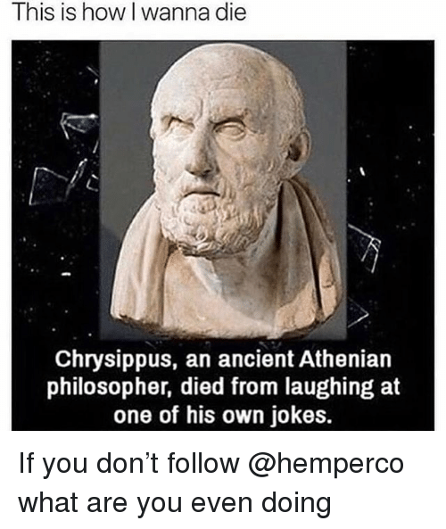 Died From Laughing: This is how I wanna die  Chrysippus, an ancient Athenian  philosopher, died from laughing at  one of his own jokes. If you don't follow @hemperco what are you even doing
