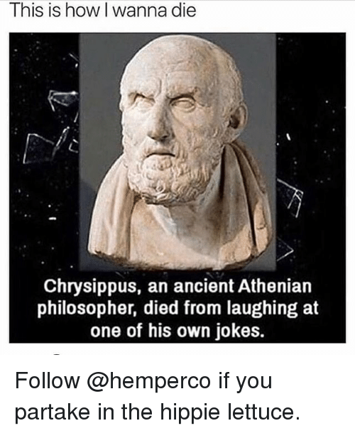 Died From Laughing: This is how I wanna die  Chrysippus, an ancient Athenian  philosopher, died from laughing at  one of his own jokes. Follow @hemperco if you partake in the hippie lettuce.