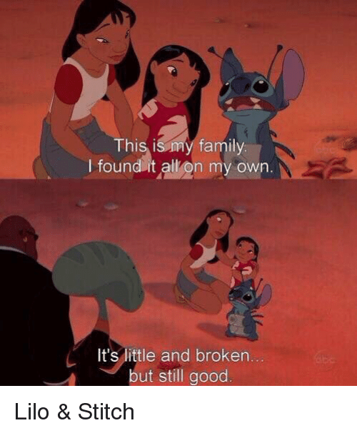 Lilo & Stitch: This is my family.  I found it all on my own  It's little and broken  but still good Lilo & Stitch