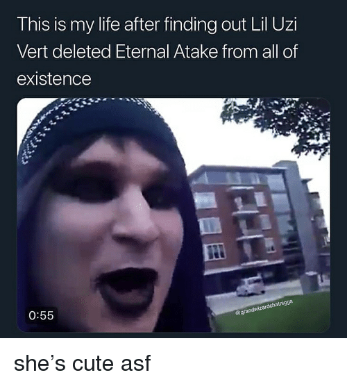 Cute, Life, and Dank Memes: This is my life after finding out Lil Uzi  Vert deleted Eternal Atake from all of  existence  atnigga  0:55  egrandwiz she's cute asf