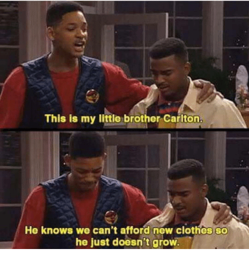 Clothes, Little Brother, and My Little: This is my little brother Carlton.  He knows we can't afford new clothes so  he just doesn't grow