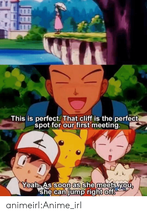 oft: This is perfect. That cliff is the perfect  spot for our first meeting.  oon as  YeahAs So she meets vou  she Caniump right ofT animeirl:Anime_irl