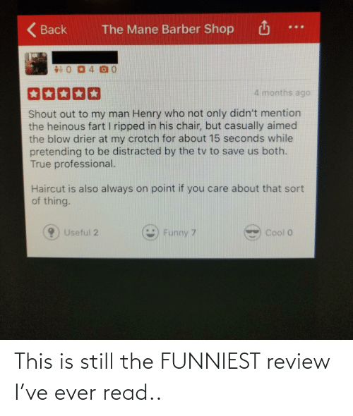 funniest: This is still the FUNNIEST review I've ever read..