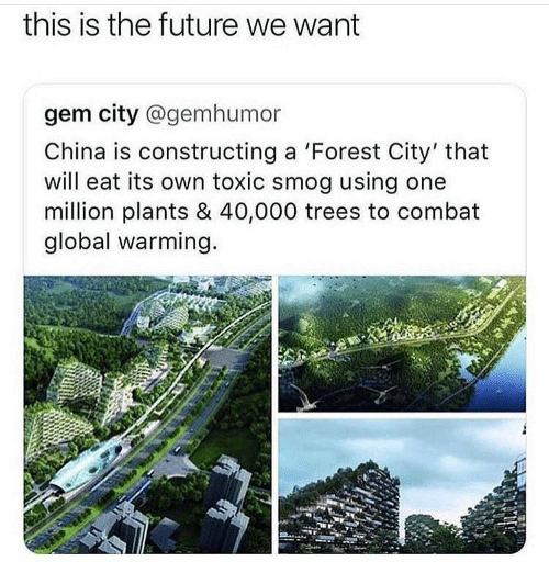 Future, Global Warming, and China: this is the future we want  gem city @gemhumor  China is constructing a 'Forest City' that  will eat its own toxic smog using one  million plants & 40,000 trees to combat  global warming.
