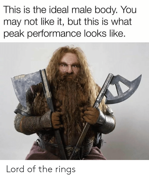 Lord of the Rings, Dank Memes, and Lord: This is the ideal male body. You  may not like it, but this is what  peak performance looks like. Lord of the rings