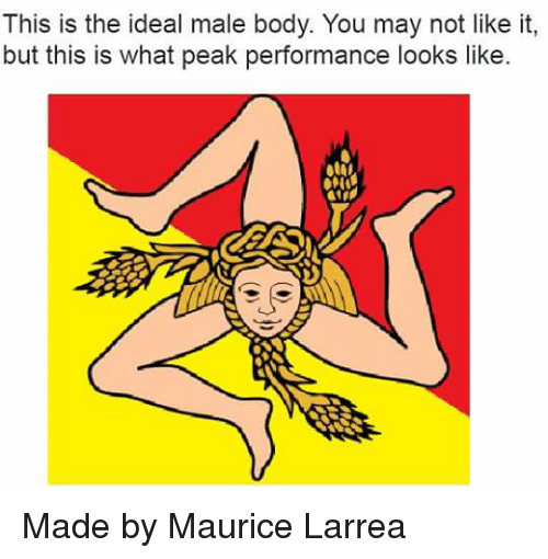 Memes, Idealism, and 🤖: This is the ideal male body. You may not like it,  but this is what peak performance looks like Made by Maurice Larrea