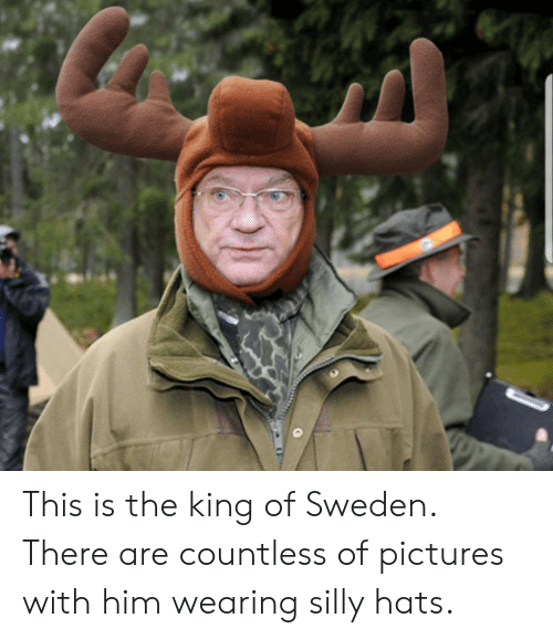 silly: This is the king of Sweden. There are countless of pictures with him wearing silly hats.