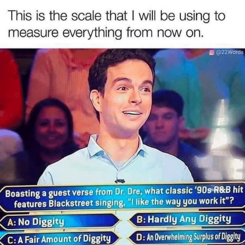 "Dr: This is the scale that I will be using to  measure everything from now on.  @22Words  Boasting a guest verse from Dr. Dre, what classic '90s R&B hit  features Blackstreet singing, ""I like the way you work it""?  B: Hardly Any Diggity  A: No Diggity  D: An Overwhelming Surplus of Diggity  C:A Fair Amount of Diggity"