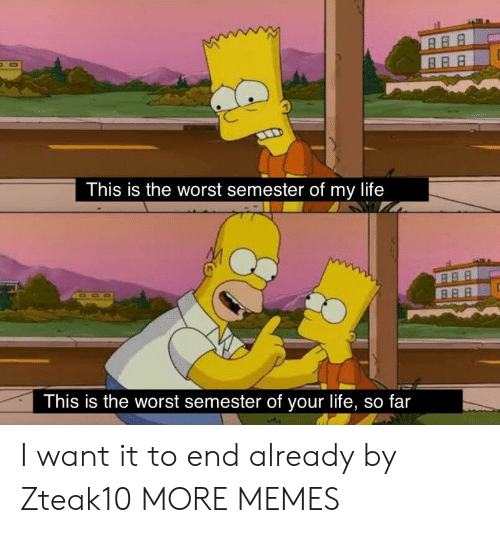 This Is The Worst: This is the worst semester of my life  This is the worst semester of your life, so far I want it to end already by Zteak10 MORE MEMES