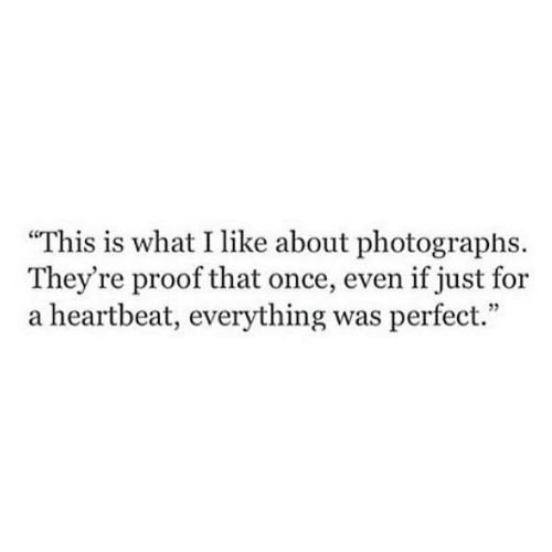 """Proof, Once, and What: This is what I like about photographs.  They're proof that once, even if just for  a heartbeat, everything was perfect."""""""