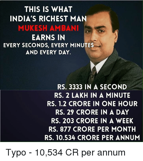 bani: THIS IS WHAT  INDIA'S RICHEST MAN  MUKESH AM BANI  EARNS IN  EVERY SECONDS, EVERY MINUTES  AND EVERY DAY.  RS. 3333 IN A SECOND  RS. 2 LAKH IN A MINUTE  RS. 1.2 CRORE IN ONE HOUR  RS. 29 CRORE IN A DAY  RS. 203 CRORE IN A WEEK  RS. 877 CRORE PER MONTH  RS. 10.534 CRORE PER ANNUM Typo - 10,534 CR per annum