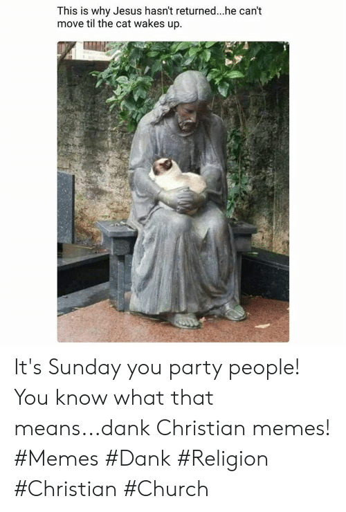 Dank Christian: This is why Jesus hasn't returned..he can't  move til the cat wakes up It's Sunday you party people! You know what that means...dank Christian memes! #Memes #Dank #Religion #Christian #Church